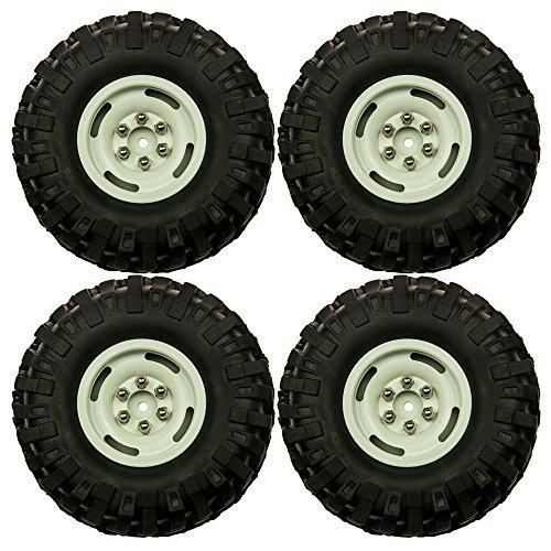 XUNJIAJIE 4 Stück 96mm Gummi Reifen 1.9 Wheel Rim Schwerlast Aluminum Felgen für 1:10 RC Rock Crawler RC4WD SCX10 CC01
