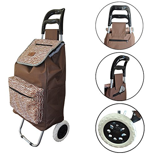 (Lightweight Folding Laundry, Shopping, Grocery, Utility Trolley, Foldable Cart, Pull Cart with Wheels, Rolling Push Dolly with Tote (Sand Dunes))