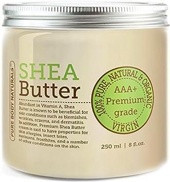 Pure Body Naturals Burro di Shea - Burro di Karitè Biologico non raffinato di Grado A di Prima qualità 450g (circa) Shea Butter