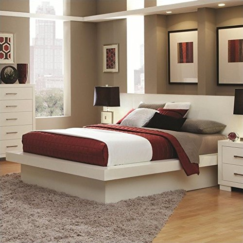 Coaster Jessica Platform Bed with Rail Seating and Lights in