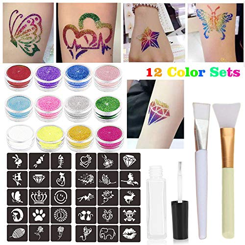 Glitter Tattoos Kits,Temporary Tattoos Glitter Body Art Party Accessory with 12 Glitter Colors,32 Themed Glitter Stencil,1 Glue Applicator Bottles & 2 Glitter Brushes for Children, Teenagers & Adults from ZEYER