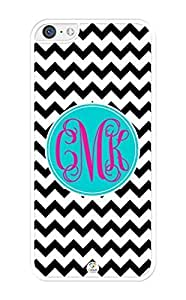 MMZ DIY PHONE CASEiZERCASE Monogram Personalized Black and White Chevron with Pink Initials Pattern iphone 4/4s Case - Fits iphone 4/4s T-Mobile, AT&T, Sprint, Verizon and International (White)