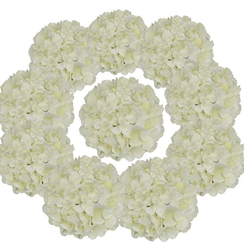 - Flojery Silk Hydrangea Heads Artificial Flowers Heads with Stems for Home Wedding Decor,Pack of 10 (Ivory)