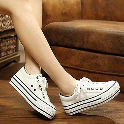 Summerwhisper Womens Trendy Top Sneakers Stringate Con Lacci Plimsoll Scarpe Di Tela Bianca