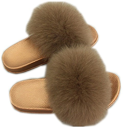 for Slippers Slides Flat Fur Soft Summer Brown Girls qmfur Women Fashion Fox Glod Real Shoes YcfIn4q7w