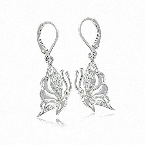 Earrings Leverback Butterfly (White CZ 925 Sterling Silver Butterfly Dangle Leverback Earrings)