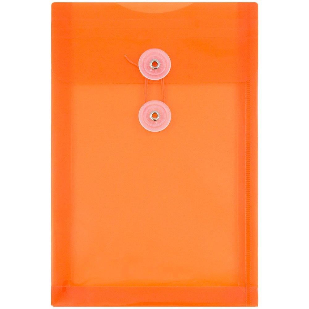 JAM Paper Plastic Envelopes with Button & String Tie Closure - 6 1/2'' x 9 1/4'' - Bright Orange - 120/pack
