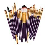 KissU 15pcs Makeup Brush Set tools Make-up Toiletry Kit Wool Make Up Brush Set (purple)