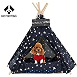 Cheap Yongs Pet Cat Dog Rabbit Teepee with Cushion,Portable Puppy Small Animals Bed Teepee Tent (24×28 inch)