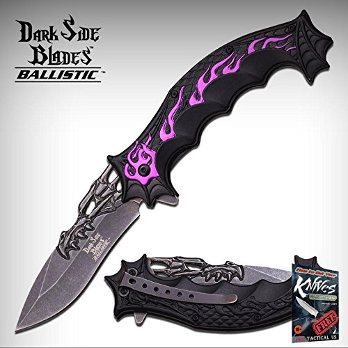(Pocket Elite Spring Assisted Folding Knife Fantasy Dragon Black Purple Flame Tactical + free eBook by ProTactical'US)