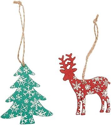 Pack de 6 decoraciones para árbol de Navidad, diseño de reno y árbol: Amazon.es: Hogar