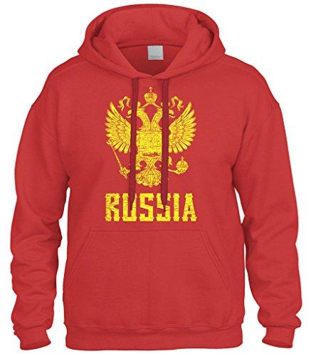 Cybertela Russia Coat Of Arms Sweatshirt Hoodie Hoody (Red, Large) ()
