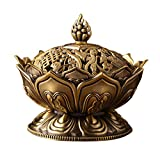 STAR-FIVE-STORE - Hot Bronze classical style Incense burner censer, Imitation copper no fade unbreakable,Lotus shape classical metal crafts