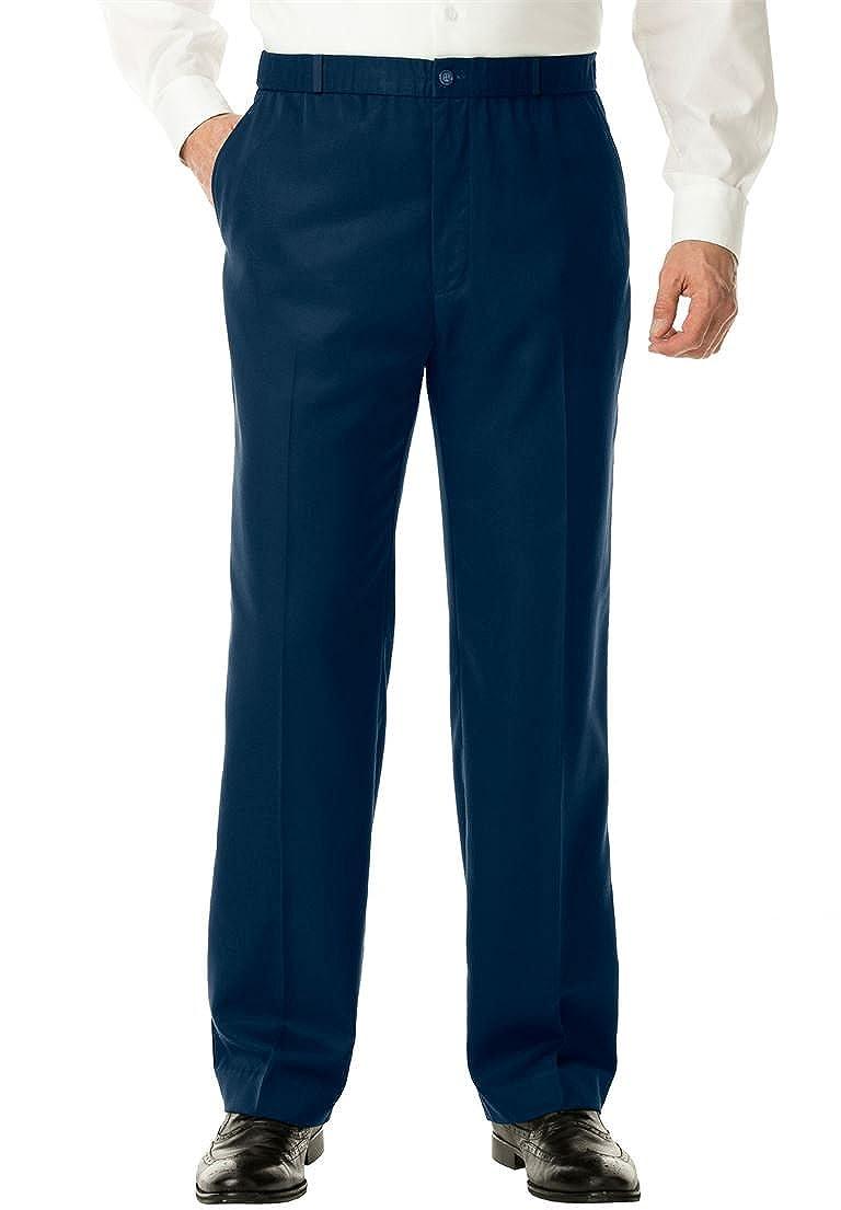 KingSize Mens Big /& Tall No Hassle Classic Fit Elastic Waist Plain Front Dress