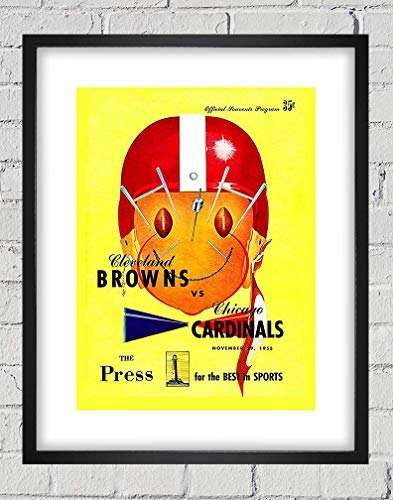 - 1953 Vintage Cleveland Browns - Chicago Cardinals Football Program Cover - Digital Reproduction - Print or Matted Print or Framed Matted Print