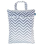 Teamoy Travel Hanging Wet Dry Bag (17.3×13.4 inches) for Cloth Diapers Dirty Clothes Organizer Tote Bag, Gray Chevron