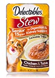 HARTZ Delectables Stew Senior 15 Years+ Lickable Wet Cat Treats - Chicken & Tuna - 12 Pack