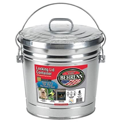 Amazoncom Behrens 6 Gallon Rust Proof Steel Locking Lid Trash Can