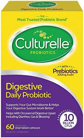 Culturelle Daily Probiotic, Digestive Health Capsules, Works Naturally with Your Body to Keep Digestive System in Balance*, With the Proven Effective Probiotic, 60 Count *Packaging May Vary*