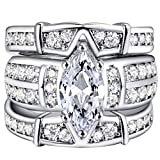 Slendima 3Pcs Fashion Three Layer Cubic Zirconia Rings Set Women Wedding Engagement Jewelry Gift Silver US 11