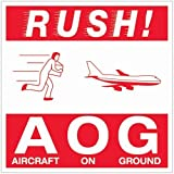 Tape Logic DL1376 Labels,Rush AOG - Aircraft On Ground, 4'' x 4'', Red/White, 500 Per Roll