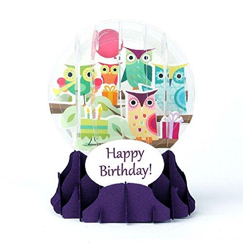 1 X 3D Snow Globe - FESTIVE OWLS - Birthday Card