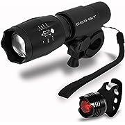 LED Fahrradbeleuchtung, DEGBIT® Fahrradlampe Fahrradlicht Set inkl. Frontlichter und Rücklicht, Halterung, Zoombarer Effekt, 900 Lumen,3 Licht-Modi für Berg-Radfahren, Camping und täglichen Gebrauch