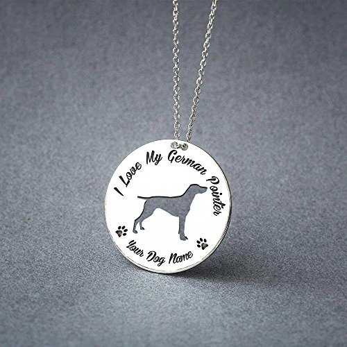 - Personalised German Shorthair Pointer Disc Necklace - German Shorthaired Pointer Disc name Jewelry - Dog Jewelry - Dog breed Necklace - Dog Necklaces