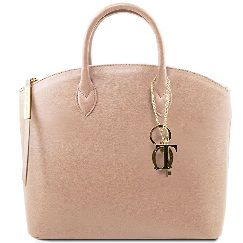 Tuscany Leather TL KeyLuck Saffiano leather tote Nude by Tuscany Leather
