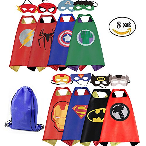 Mizzuco Kids Cartoon Dress up Costumes Satin Capes with Felt Masks and Exclusive Bag for Copslay Birthday (Cartoon Dress Up Costumes)
