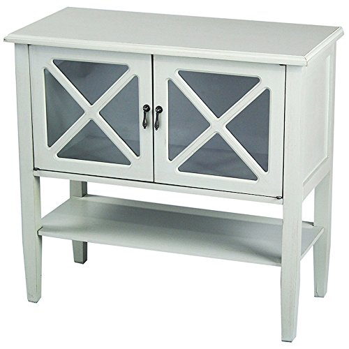 Heather Ann Creations 2-Door Console Cabinet with X-Pane Glass Insert, Sea Foam Green