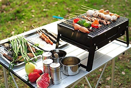 LEILEI Barbecue Portable,Barbecue en Acier Inoxydable,Barbecue au Charbon de Bois Pliable Outdoo,Jambes Pliables Rangement Facile,Barbecue de Voyage de Jardin