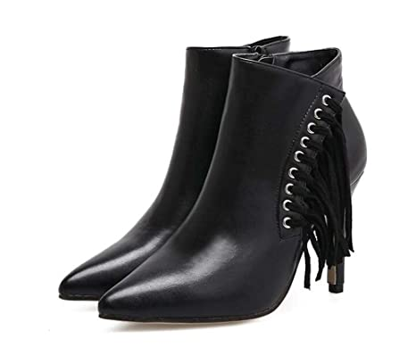 Las mujeres 10 cm Scarpin punta estrecha borla del vestido Boots Martin Boots remaches con cremallera