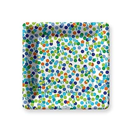 Amazon.com: Confetti Toss-Blue Dessert Paper Plates: Kitchen & Dining