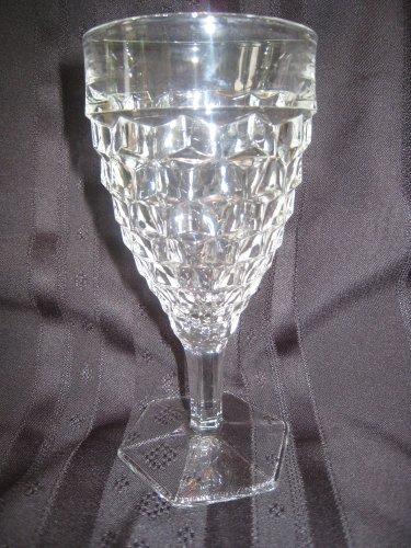 - American Pattern Old Fostoria 10 Ounce Hex Base Stem Goblet Depression Glass