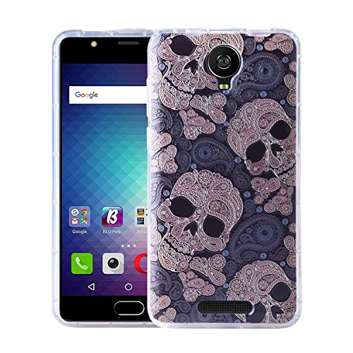 BLU Studio XL 2 Case, KTtwo [Lightweight] [Shockproof] [Scratch Resistant] [Drop Protection] Special 3D Relief Printing Pattern Design Silicone Soft TPU Cover case for BLU Studio XL2 (Skull)