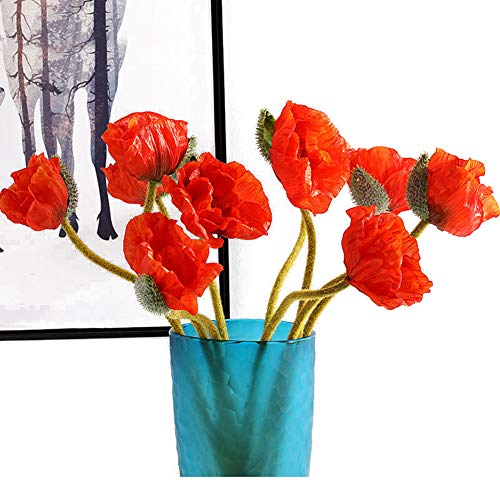 Artfen 5 Pcs Artificial French Corn Poppy Silk Poppy Flocking Long Stem Flowers Home Wedding Party Decor 25