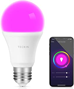 Smart Light Bulb with Soft White Light 2800k-6200k + RGBW, TECKIN A19 WiFi Multicolor LED Bulb Compatible with Phone, Google Home and IFTTT (No Hub Required), 8w (60w Equivalent),1 Pack