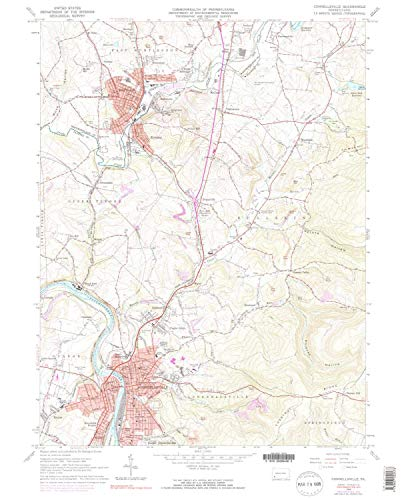 YellowMaps Connellsville PA topo map, 1:24000 Scale, 7.5 X 7.5 Minute, Historical, 1964, Updated 1973, 26.8 x 22 in - Polypropylene