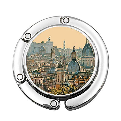 Jackie Prout ss City View Rome from Castel SantAngelo Italy Historical Landmark Vatican Wide Pale Salmon Ivory Green Custom Foldable Handbag Bag Purse Hanger Hook Holder
