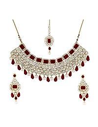 Aheli Indian Ethnic Maang Tikka Pearl Kundan Necklace and Earrings Set Bollywood Festive Jewelry for Women Girls (Maroon)