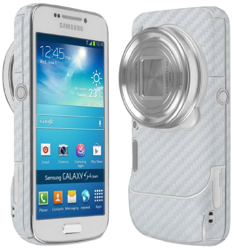 Skinomi Samsung Galaxy S4 Zoom Screen Protector + Silver Carbon Fiber Full Body (cm-c1010), TechSkin Silver Carbon Fiber Skin for Samsung Galaxy S4 Zoom with Anti-Bubble Clear Film Screen