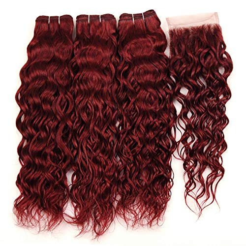 - Red Water Wave Hair 3 Bundles With Closure Burgundy Pre-Colored Non Remy Bundles,12 12 12+10Closure