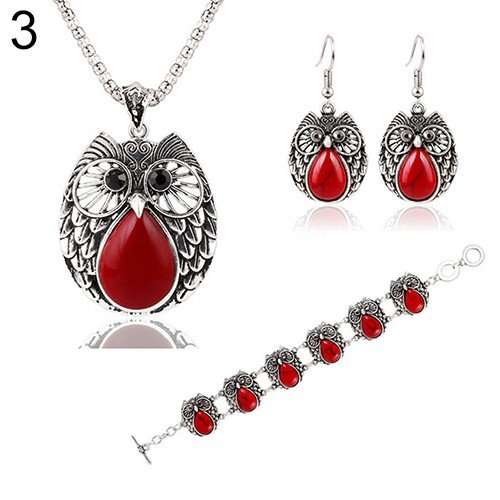 Red Vintage Turquoise Inlaid Pendant Necklace Owl Drop Earrings Bracelet Jewelry Sets