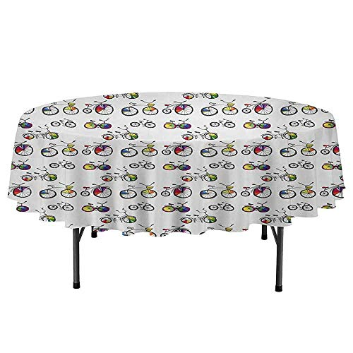 Bicycle Printed Round Tablecloth Hand Drawn Penny Farthing Tandem and City Bikes with Colored Rims Cartoon Style Desktop Protection pad D59 Inch Multicolor