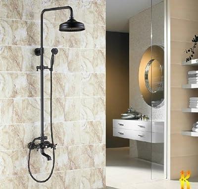 "Rozin Wall Mounted Bath Shower Faucet Set 8"" Rain Shower Head + Hand Shower Spray"