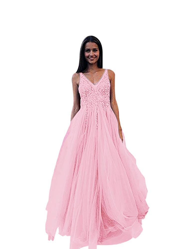 Pink Lnxianee Women's VNeck Beaded Prom Dresses A Line Long Formal Evening Gowns