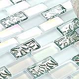 11 Sheets Subway White Glass Mosaic Iridescent Finish Silver Tile for Kitchen Bath Backsplash TSTNB04