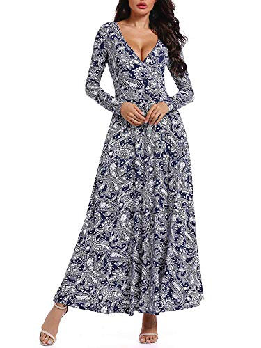 HUHOT Long Wrap Hawaiian Dresses,Women Floral V Neck Paisley Aline Unique Cross Dresses with Pockets 19089-3 Medium