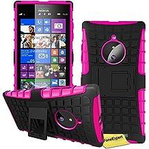 Nokia Lumia 830 Case, FoneExpert® Heavy Duty Rugged Impact Armor Hybrid Kickstand Protective Cover Case For Nokia Lumia 830 + Screen Protector & Cloth (Pink)